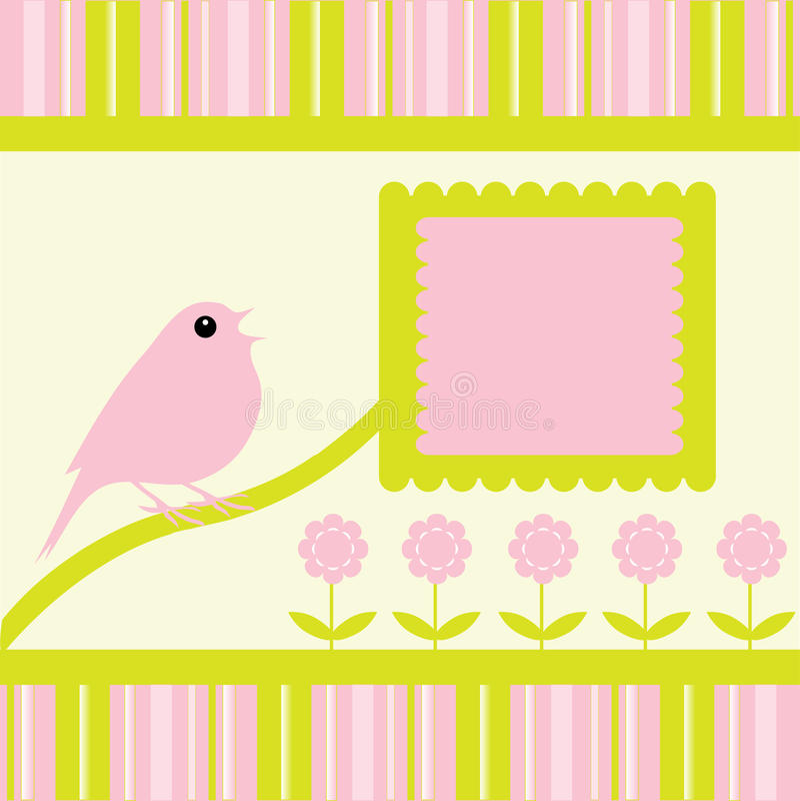 Fondo de las rayas de las flores del canto del pájaro ilustración del vector