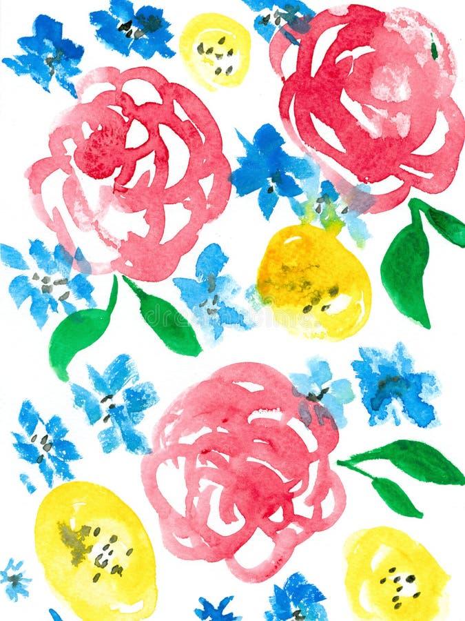 Fondo de las rosas de la acuarela imagenes de archivo