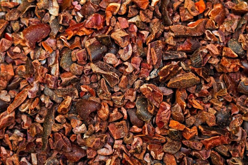 Fondo de las semillas de cacao fotos de archivo