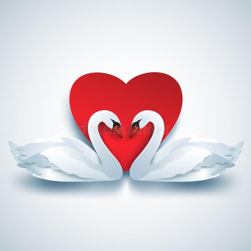 Fondo de las tarjetas del día de San Valentín con dos cisnes 3d y corazones blancos stock de ilustración