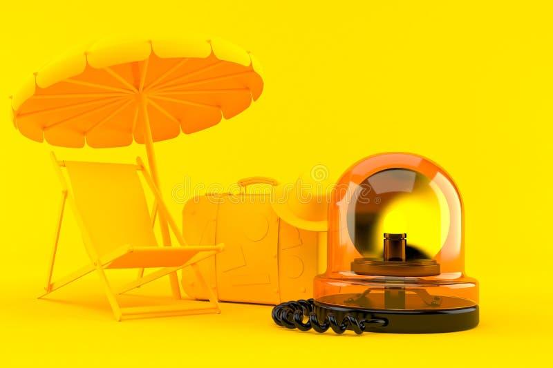 Fondo de las vacaciones con la sirena de la emergencia ilustración del vector