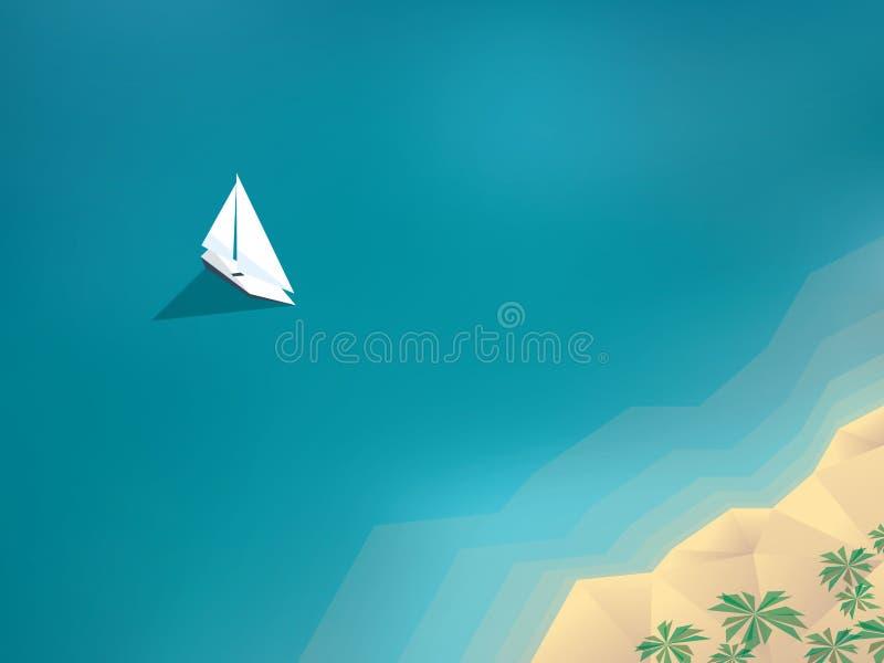 Fondo de las vacaciones de verano con el yate que navega a libre illustration