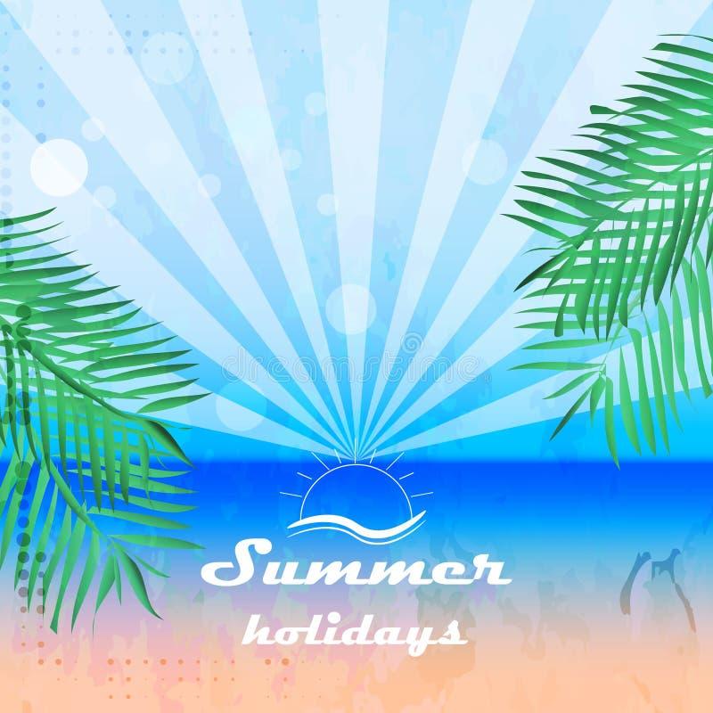 Fondo de las vacaciones de verano en estilo retro con las palmas stock de ilustración