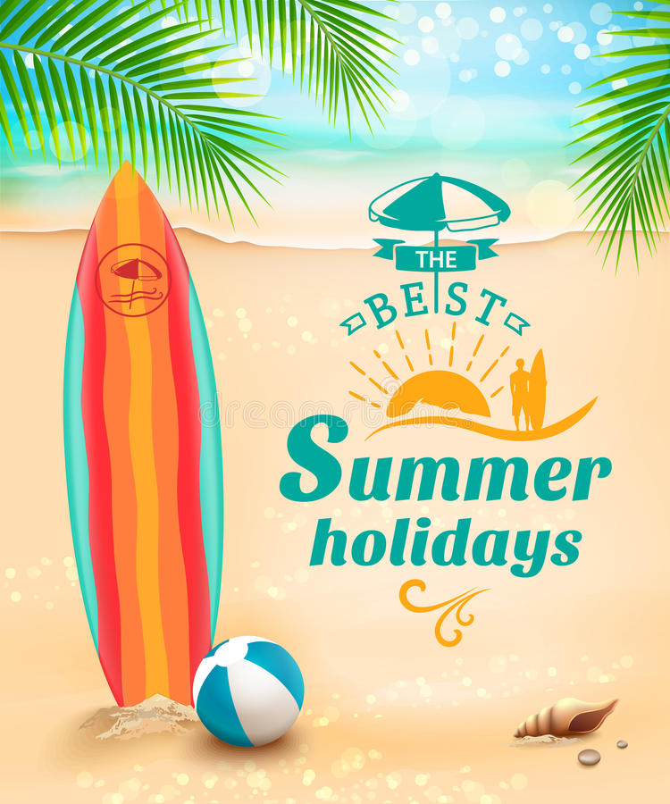 Fondo de las vacaciones de verano - tabla hawaiana encendido contra la playa y ondas Ilustración del vector ilustración del vector