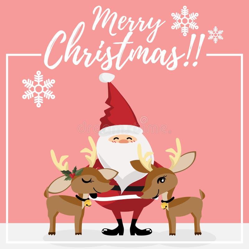 Fondo de las vacaciones de la Navidad con la historieta de la Navidad de Santa Claus y del reno rojo de la nariz stock de ilustración