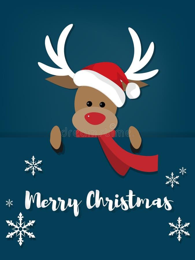 Fondo de las vacaciones de la Navidad con los ciervos con el sombrero de Papá Noel ilustración del vector