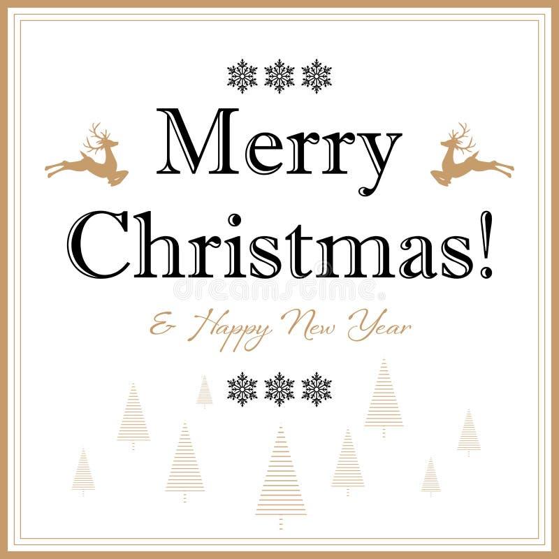 Fondo de las vacaciones de la Navidad con los elementos de la Navidad y el texto del Feliz Navidad y de la Feliz Año Nuevo libre illustration