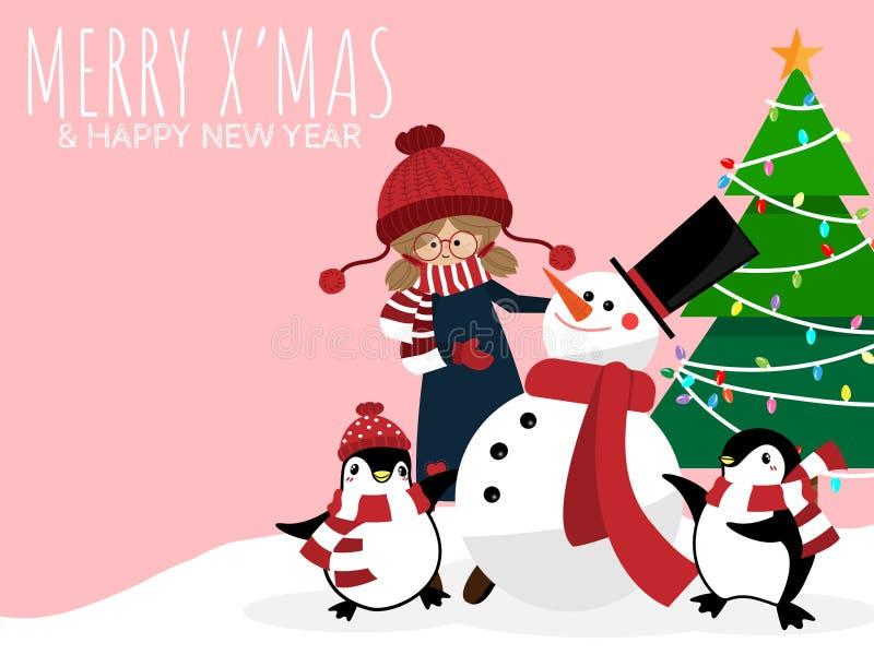 Fondo de las vacaciones de la Navidad con la muchacha linda en aduana del invierno con el muñeco de nieve, pingüinos, árbol de na imagenes de archivo