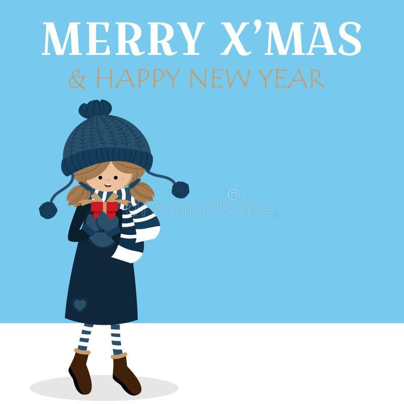 Fondo de las vacaciones de la Navidad con la muchacha linda en caja de regalo de la tenencia de la aduana del invierno ilustración del vector