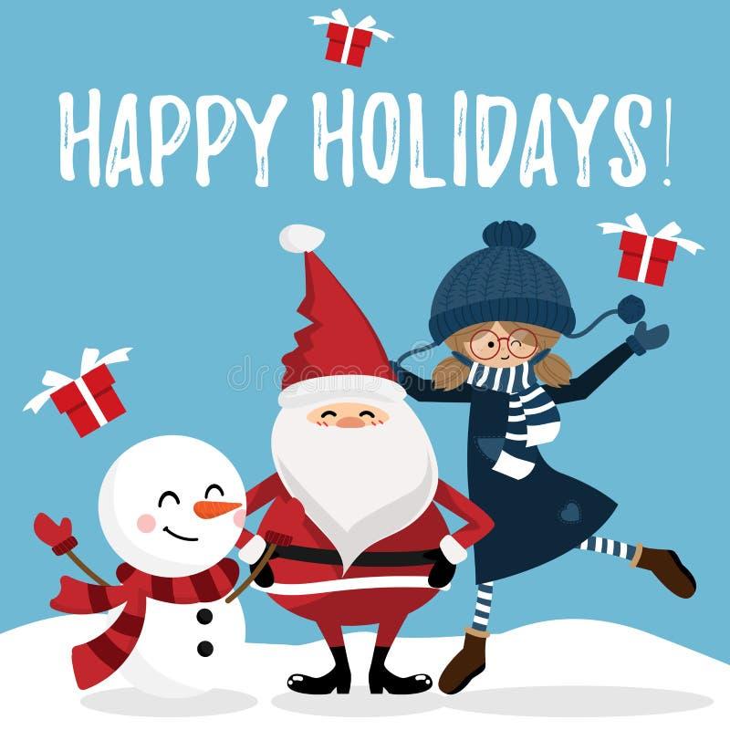 Fondo de las vacaciones de la Navidad con Santa Claus, el muñeco de nieve y la muchacha linda stock de ilustración