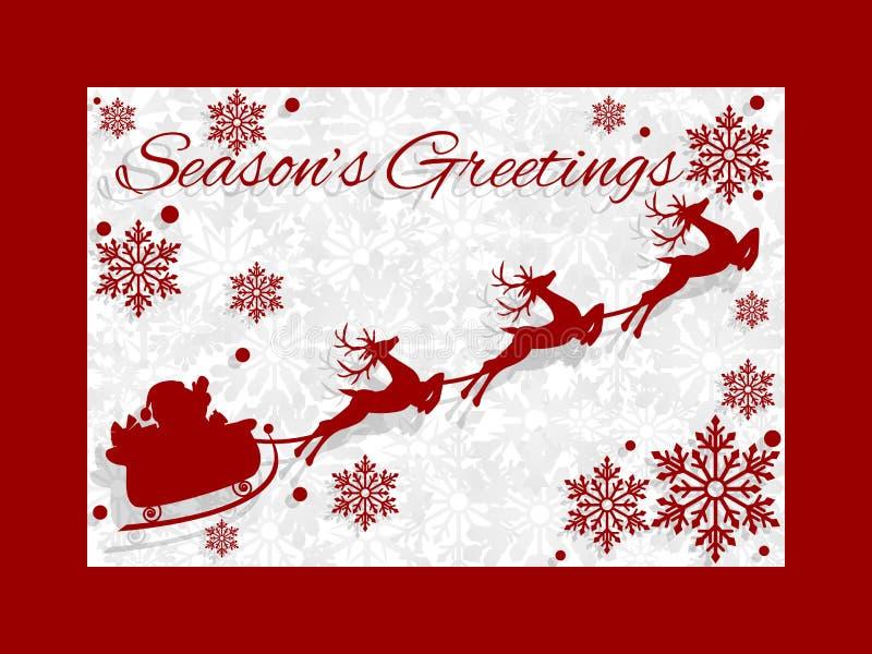 Fondo de las vacaciones de la Navidad con la silueta del vuelo de Papá Noel en un trineo con el reno libre illustration
