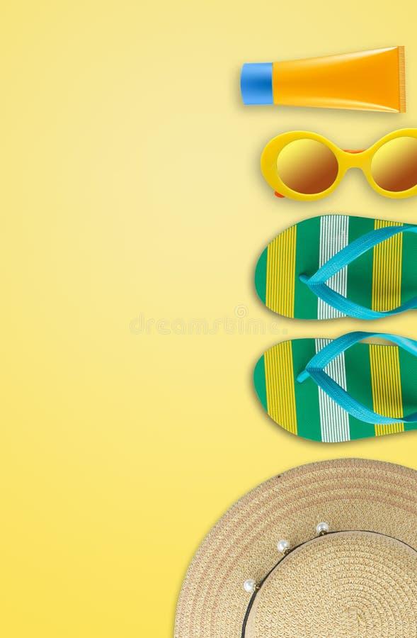 Fondo de las vacaciones de verano, accesorios de la playa, vacaciones y trave foto de archivo