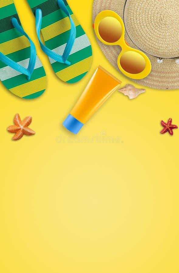 Fondo de las vacaciones de verano, accesorios de la playa, vacaciones y trave ilustración del vector