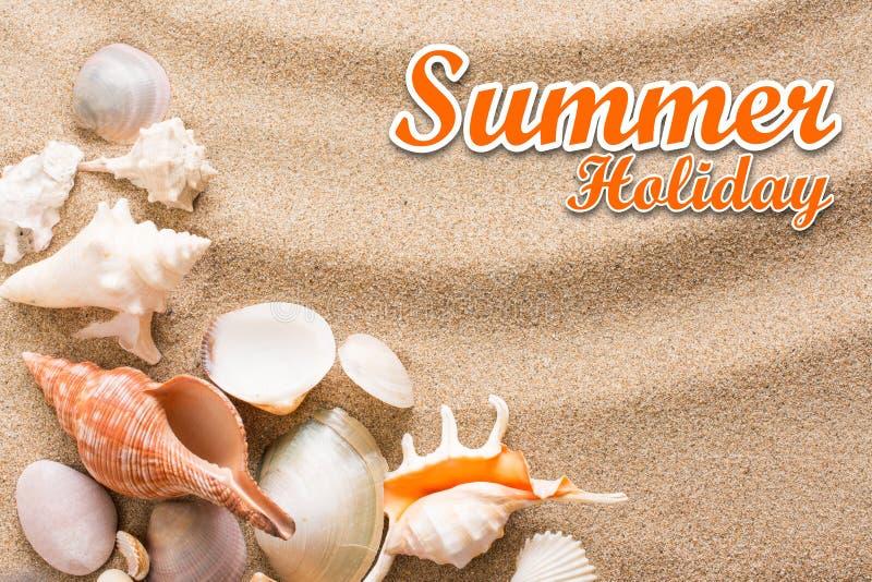 Fondo de las vacaciones de verano con el texto Concha marina en la playa fotografía de archivo libre de regalías