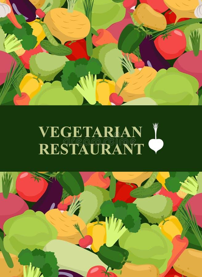 Fondo de las verduras frescas Plantilla del diseño de concepto al veg del menú stock de ilustración
