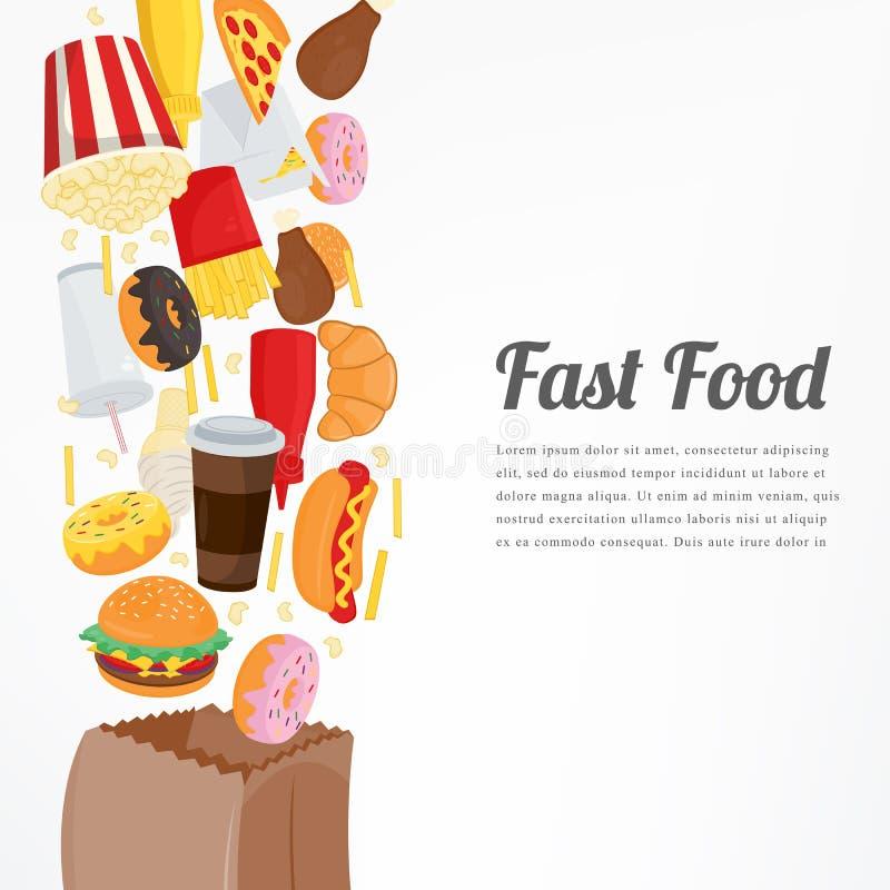 Fondo de los alimentos de preparación rápida con los iconos coloridos de la comida Concepto sabroso de la comida Vector ilustración del vector