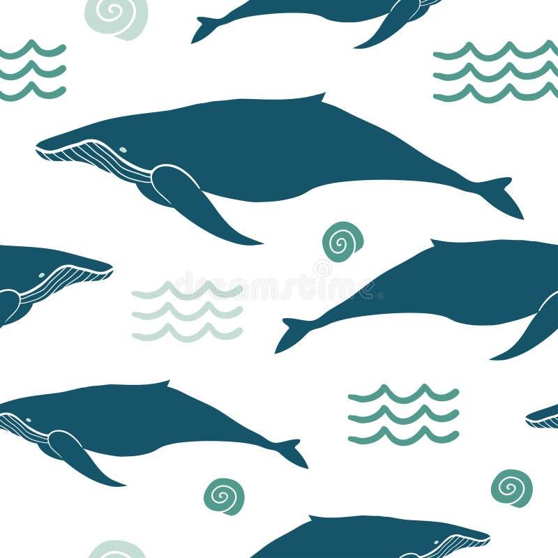 Fondo de los animales de mar con las ballenas libre illustration