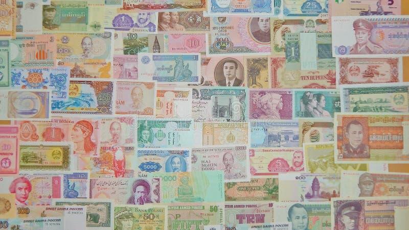 Fondo de los billetes de banco de los billetes del mundo imagen de archivo libre de regalías