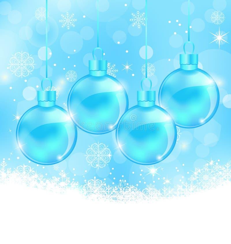 Fondo de los copos de nieve del invierno con las bolas de cristal de la Navidad stock de ilustración
