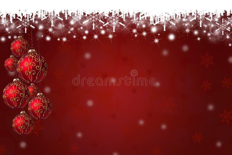 Fondo de los copos de nieve y de las chucherías de la Navidad ilustración del vector
