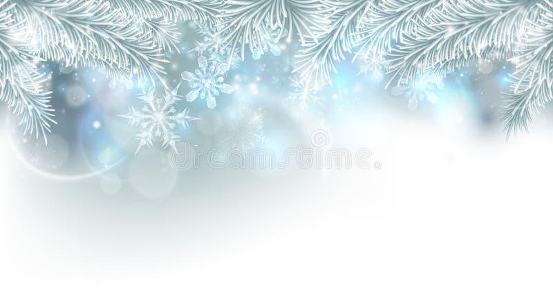 Fondo de los copos de nieve del árbol de navidad ilustración del vector