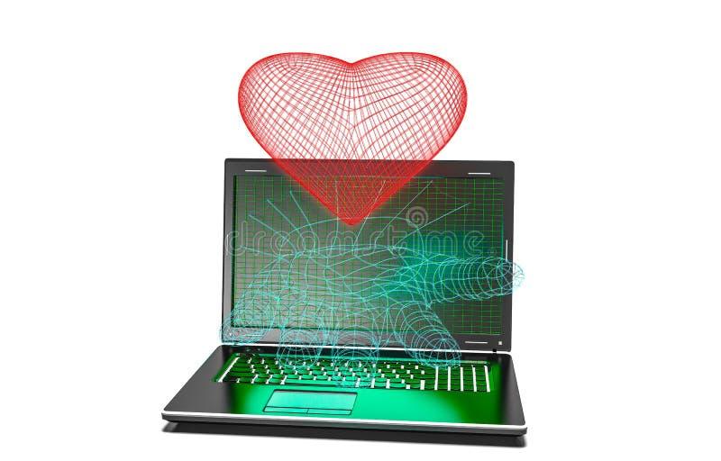 Fondo de los corazones en el ordenador portátil moderno aislado ilustración del vector