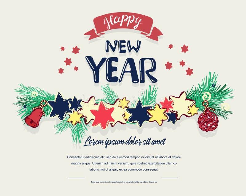 Fondo de los días de fiesta con deseos de la estación y la frontera de las ramas de árbol de navidad adornadas con, estrellas, ve ilustración del vector