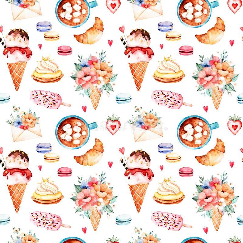 Fondo de los dulces de la acuarela stock de ilustración