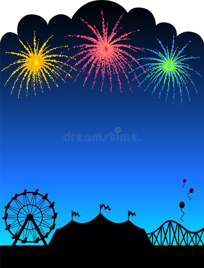 Fondo de los fuegos artificiales del carnaval stock de ilustración