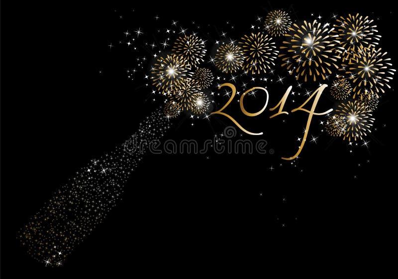 Fondo 2014 de los fuegos artificiales del champán de la Feliz Año Nuevo stock de ilustración