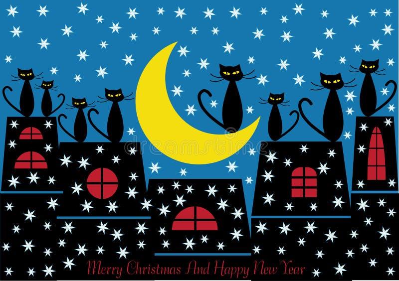 Fondo de los gatos de la Navidad stock de ilustración