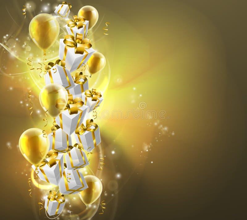Fondo de los globos y de los regalos del oro ilustración del vector
