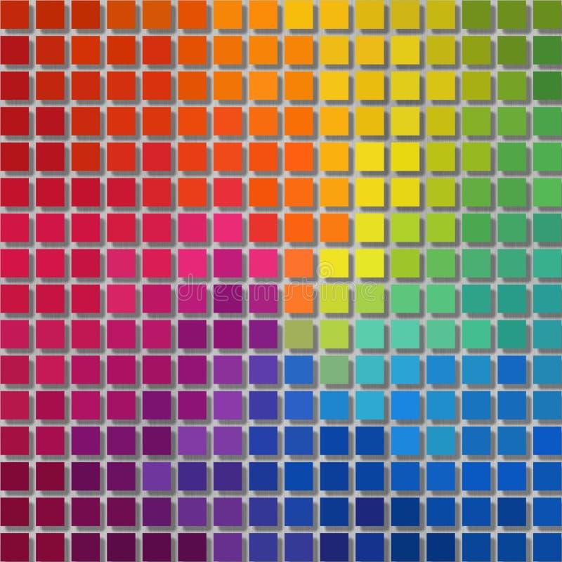 Fondo de los gráficos del pixel - pequeños cuadrados - arco iris a todo color del espectro coloreado stock de ilustración