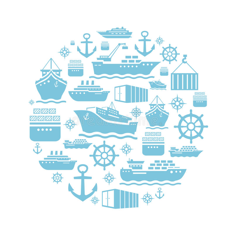 Fondo de los iconos de la nave y del barco transporte libre illustration