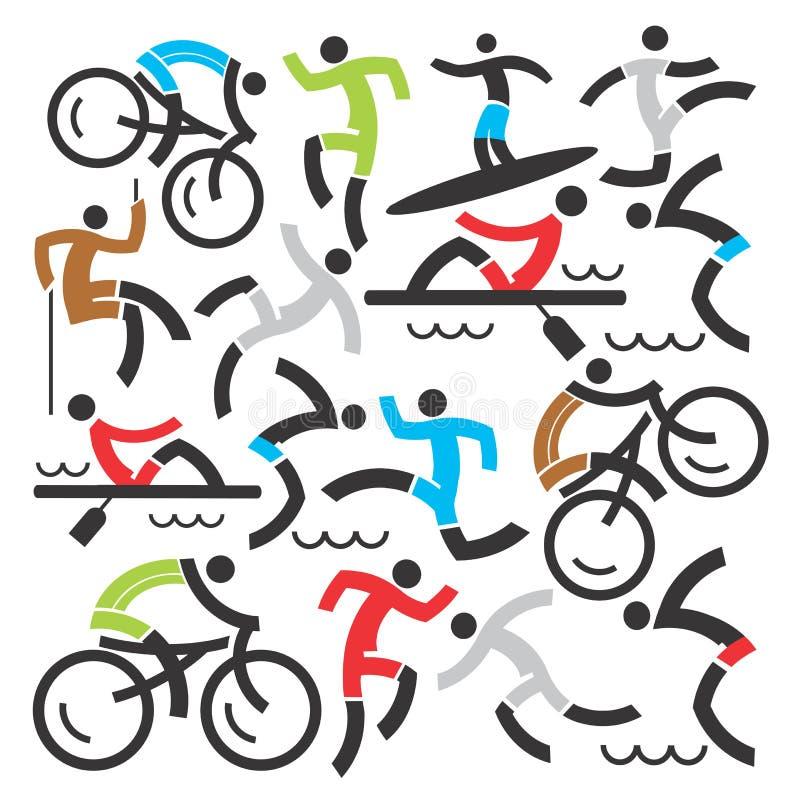 Fondo de los iconos de los deportes al aire libre libre illustration