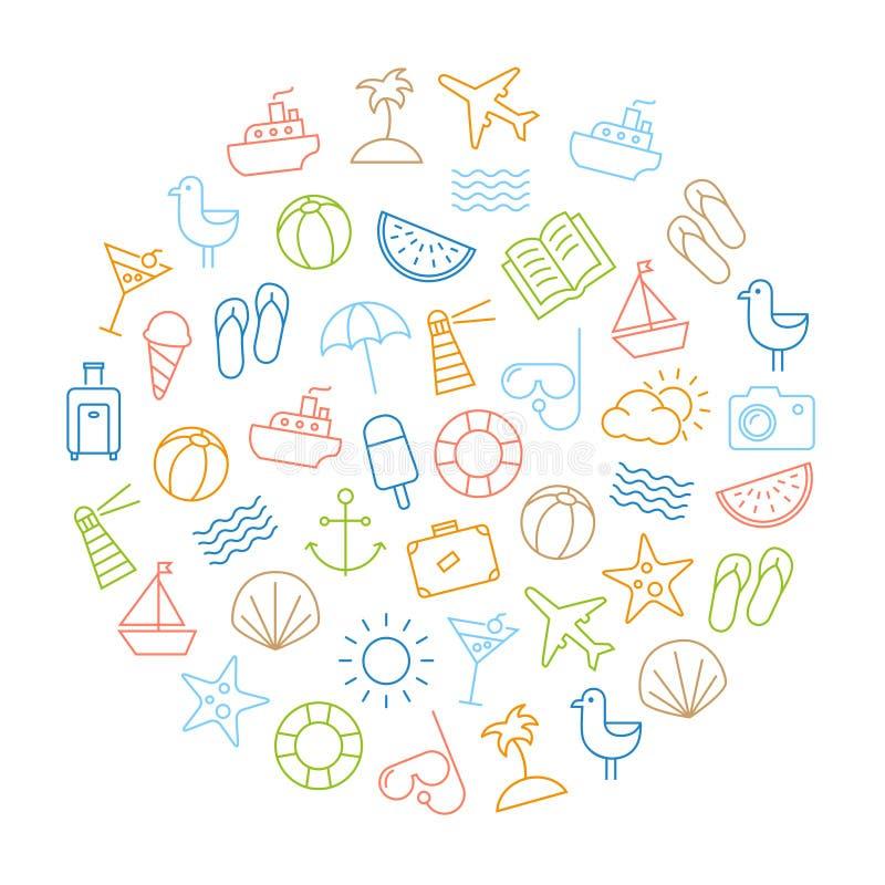 Fondo de los iconos del verano stock de ilustración