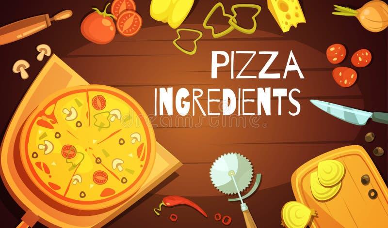 Fondo de los ingredientes de la pizza stock de ilustración