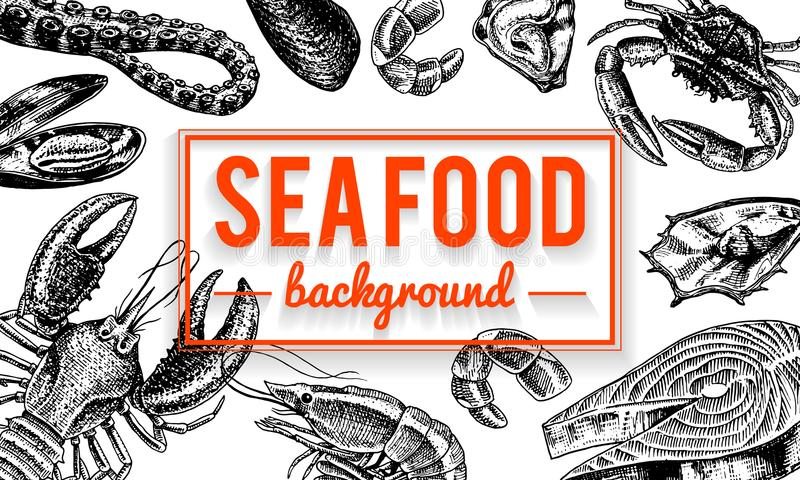 Fondo de los mariscos Crustáceos, camarón, langosta o cangrejos, cangrejo con las garras Criaturas del río y del lago o del mar ilustración del vector