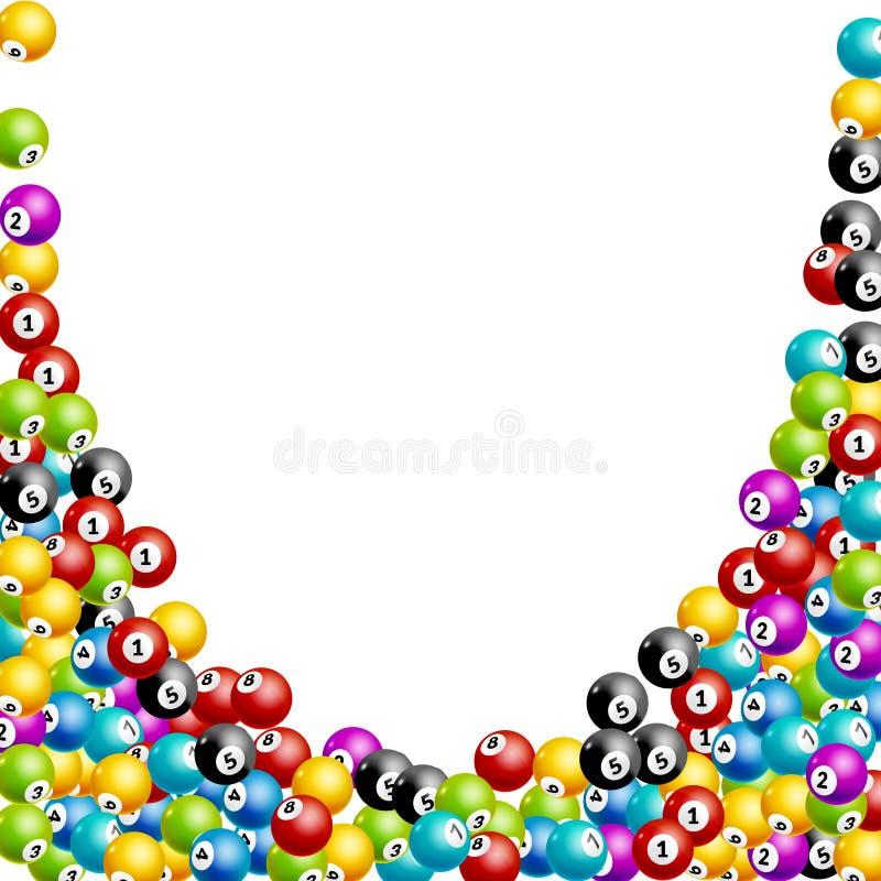 Fondo de los números de las bolas de la lotería del bingo Bolas de juego de la lotería Ganador de la loteria ilustración del vector