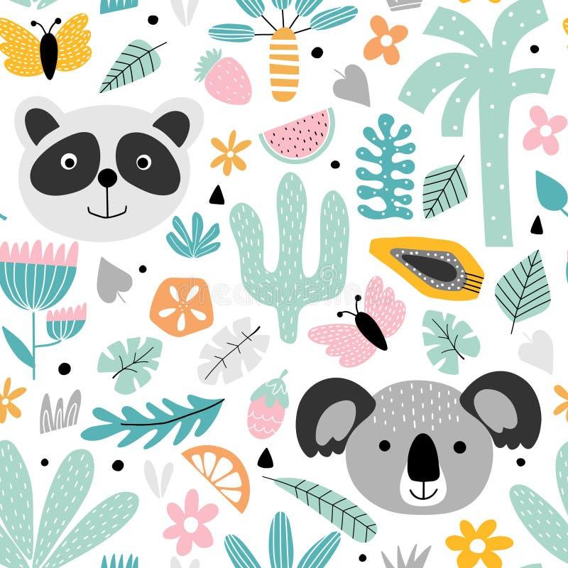 Fondo de los niños con la panda y la koala stock de ilustración