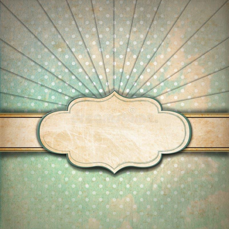 Fondo de los rayos de sol del vintage con la etiqueta ilustración del vector