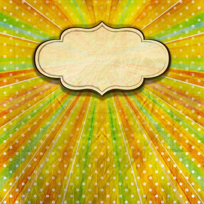 Fondo de los rayos de sol del vintage con la etiqueta stock de ilustración