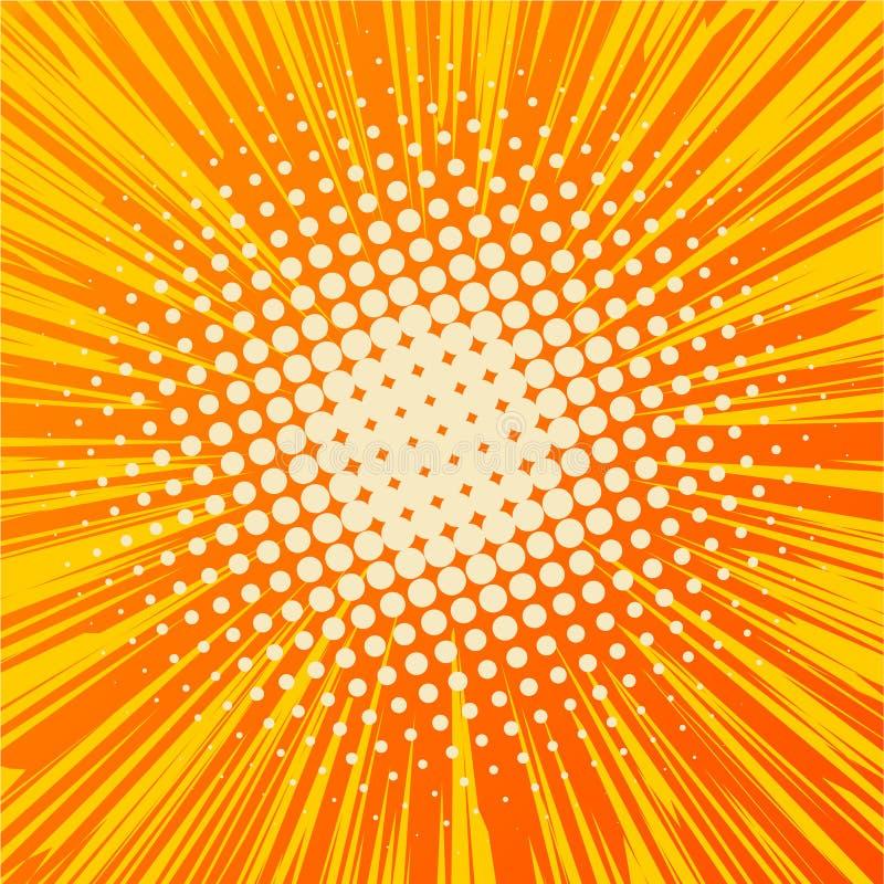 Fondo de los rayos de los tebeos con los tonos medios Arte pop libre illustration