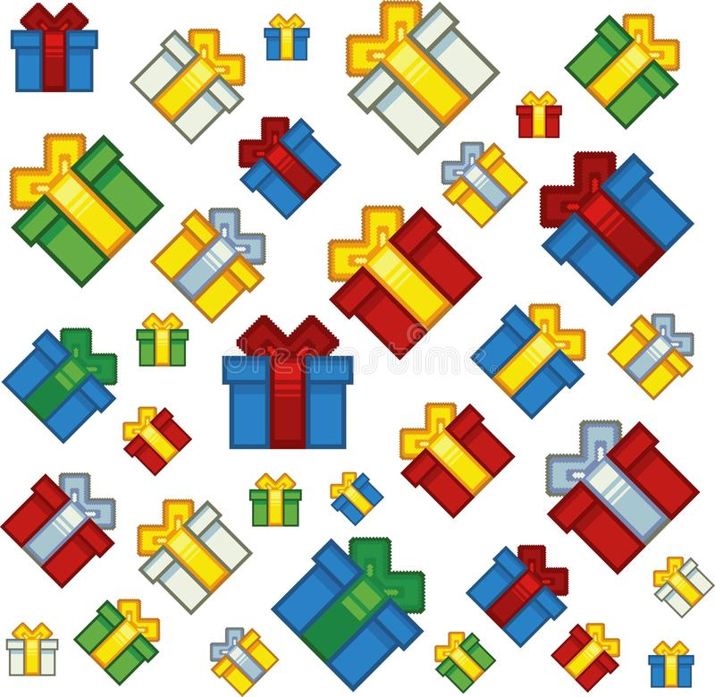 Fondo de los regalos de Navidad del estilo del arte del pixel ilustración del vector
