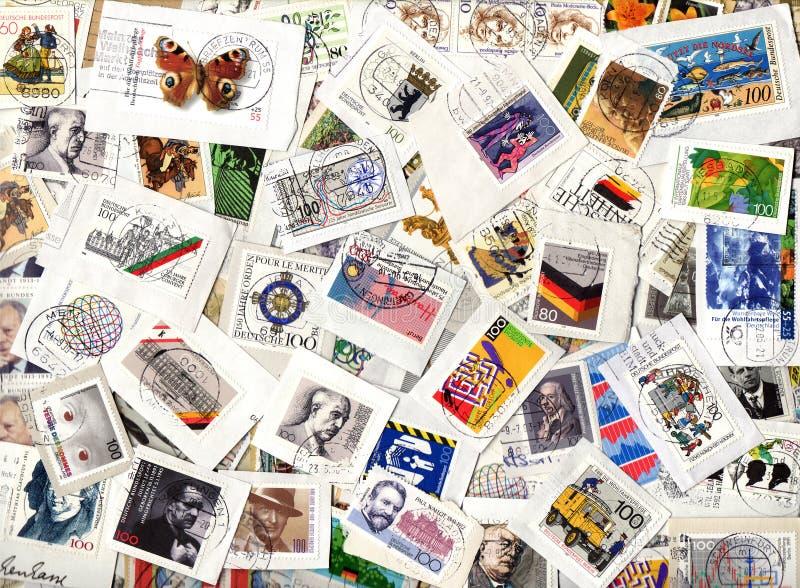 Fondo de los sellos conmemorativos alemanes fotos de archivo