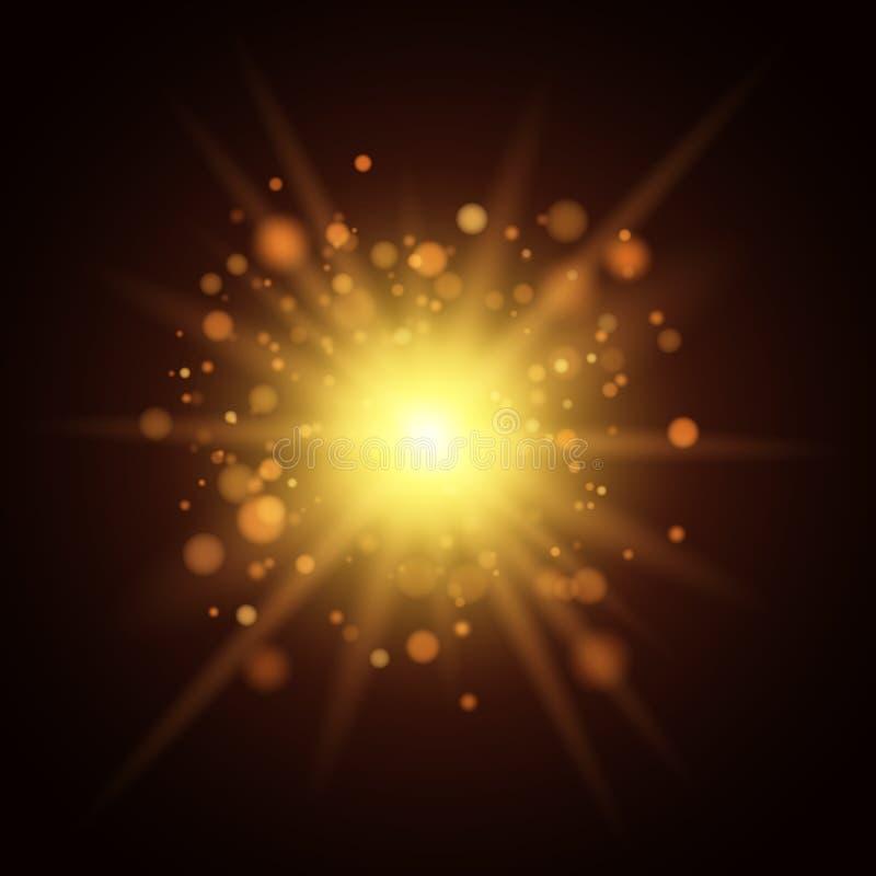 Fondo de luces de oro Luz de la Navidad Un flash amarillo grande Cantidad para la foto Plantilla para su proyecto libre illustration
