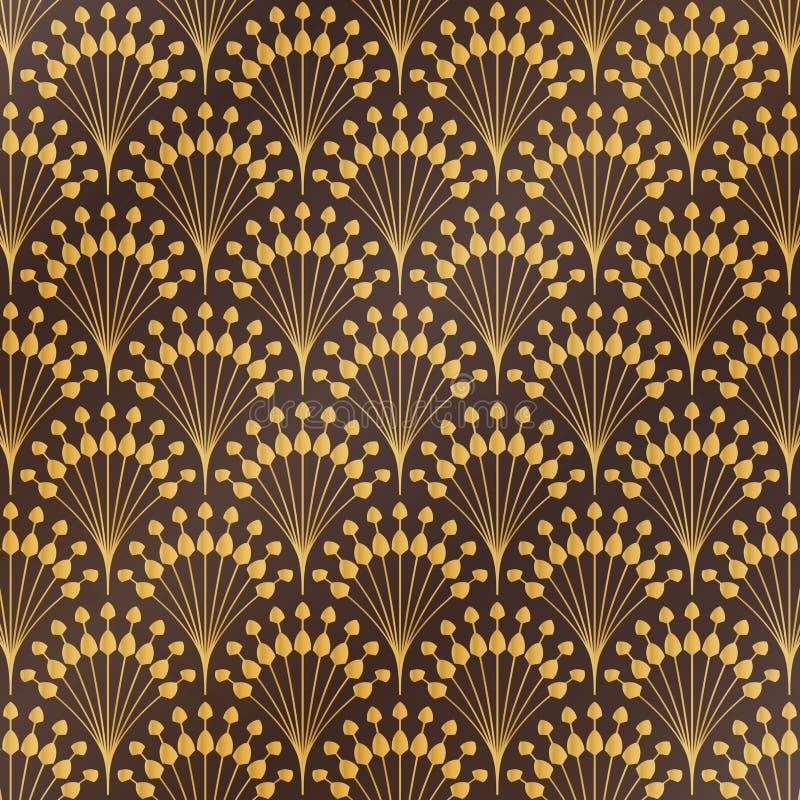 Fondo de lujo del estampado de flores del art déco del oro clásico antiguo del extracto Usted puede utilizar para el estilo de la ilustración del vector