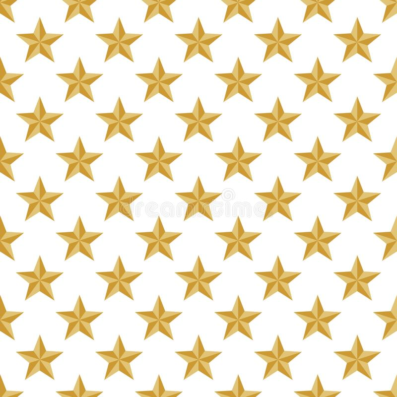 Fondo de lujo del oro con las estrellas brillantes del oro en fila de lado a lado y debajo de ellas en un fondo blanco ilustración del vector
