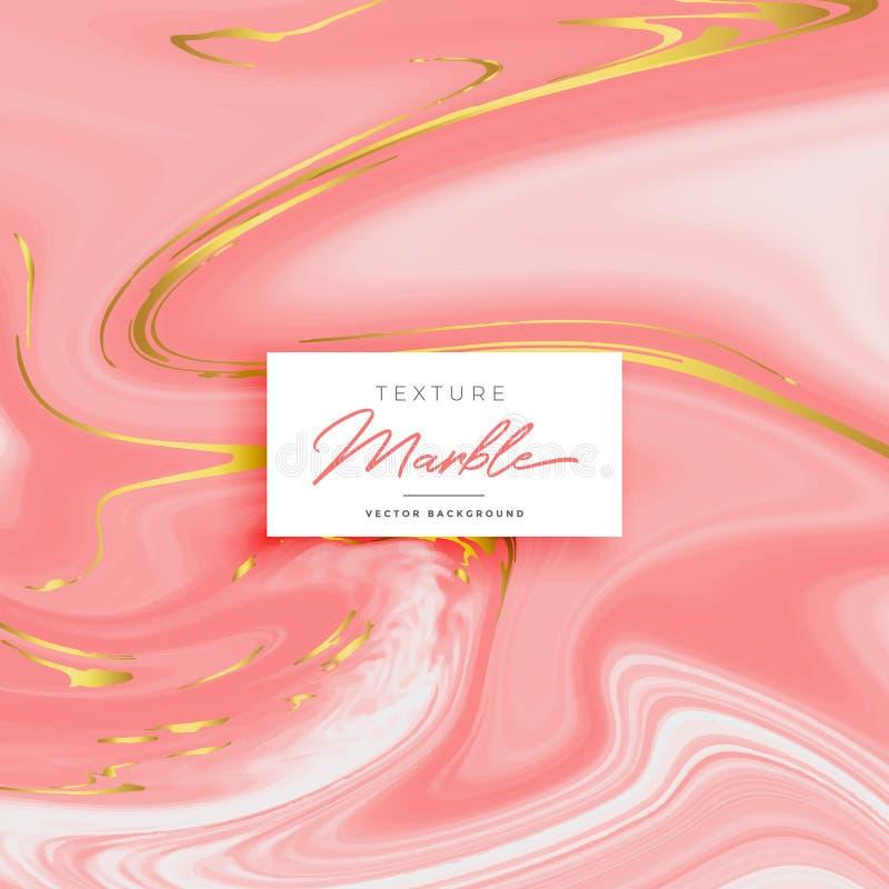 Fondo de mármol rosado superior de la textura con las sombras de oro ilustración del vector