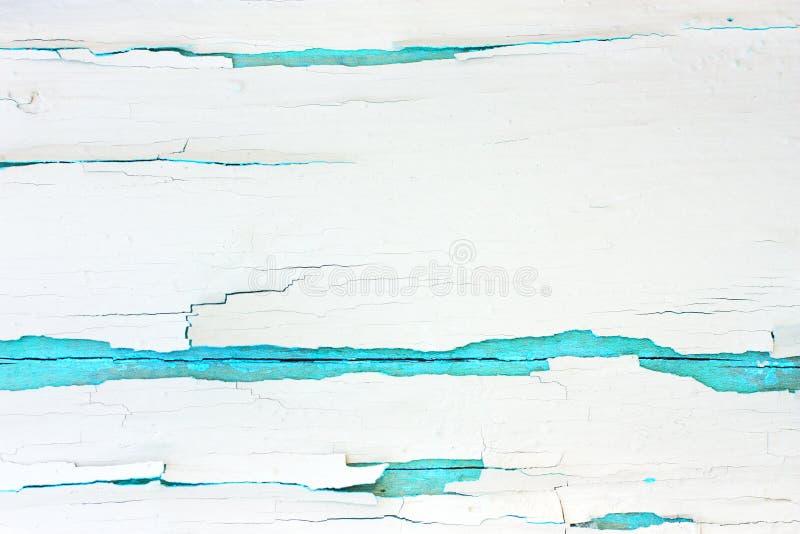 Fondo de madera áspero pintado, pared vieja con blanco agrietado de la pintura en el contexto de la turquesa fotos de archivo